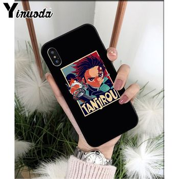 Yinuoda Anime Demon Slayer Kimetsu nav Yaiba TPU Soft black Telefonu Gadījumā par Apple iPhone 8 7 6 6S Plus X XS MAX 5 5S SE XR Vāciņu